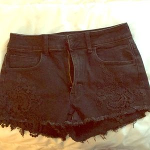 High waisted black shorts with lace
